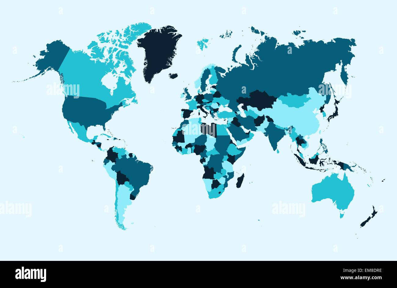 World map, blue countries illustration EPS10 vector file. - Stock Image