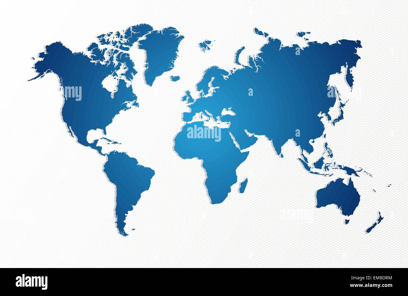 Blue World map isolated shape EPS10 vector file. - Stock Image