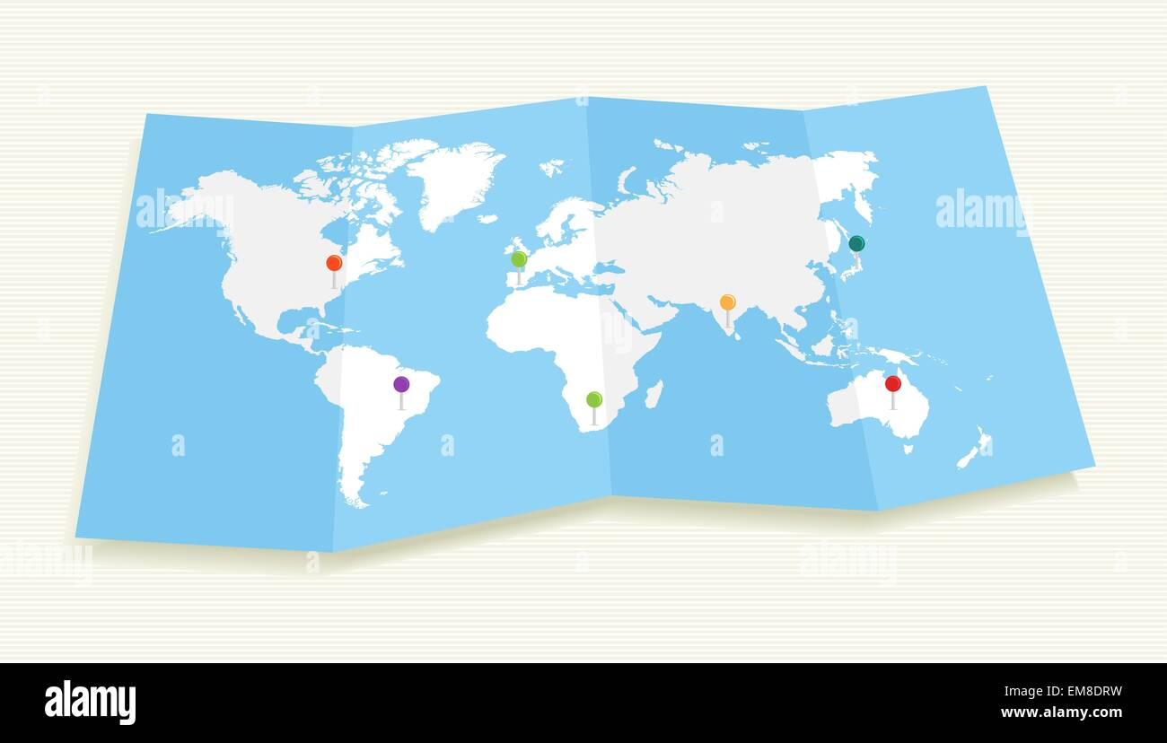 World map with GPS location pushpins EPS10 file. - Stock Image