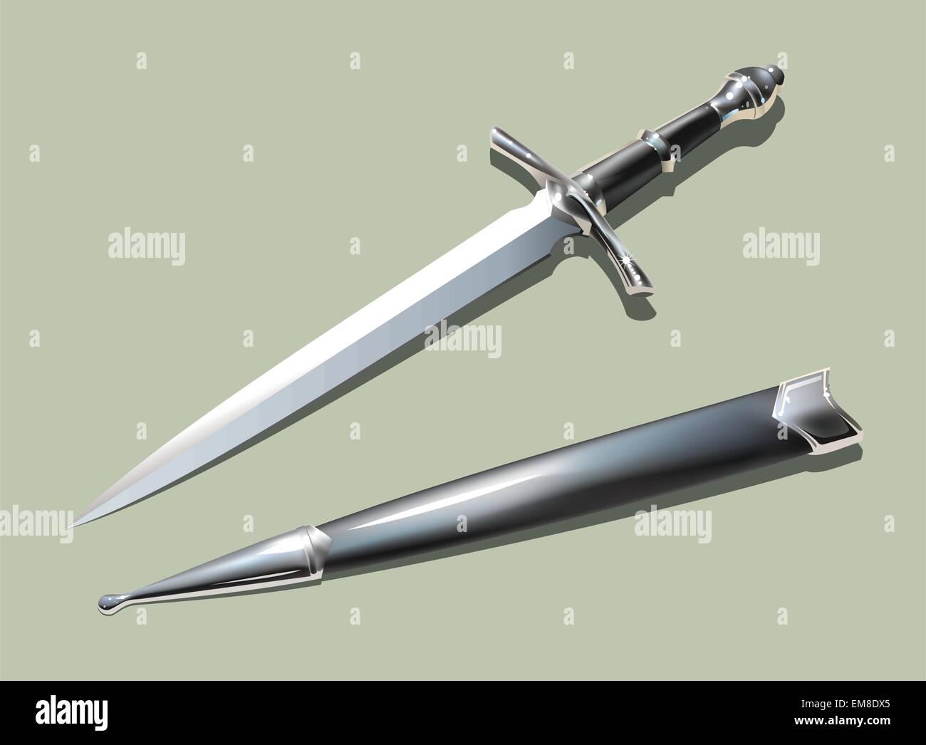 Dagger and scabbard - Stock Vector