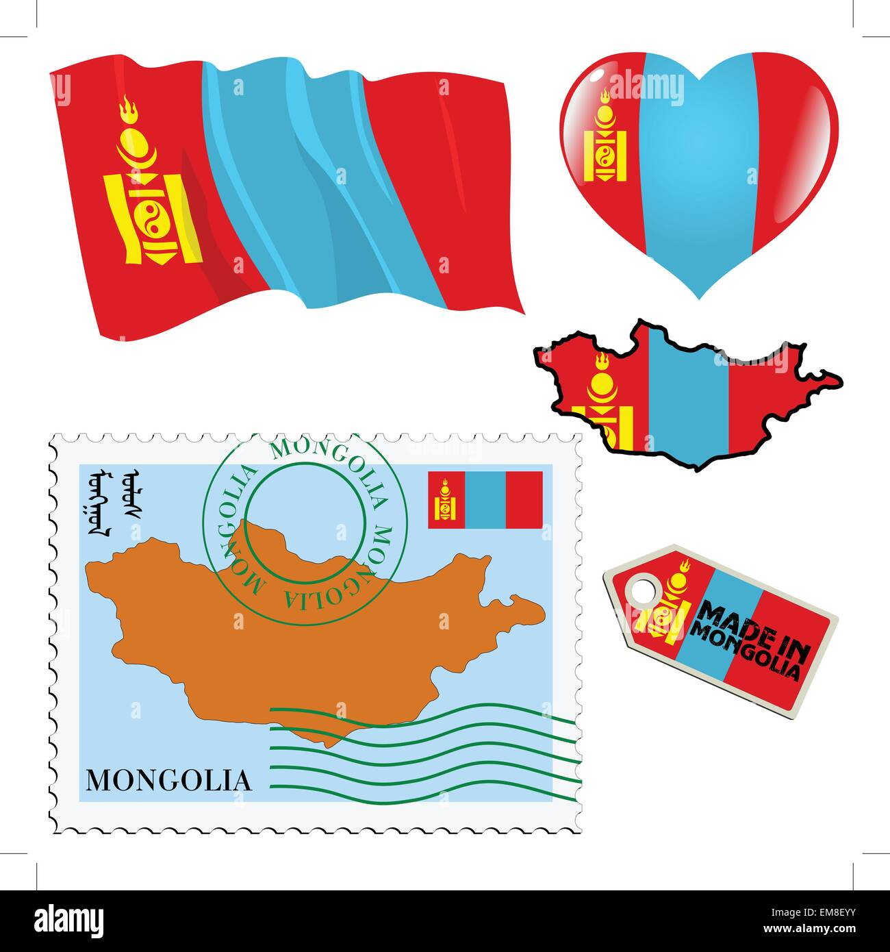 national colours of Mongolia - Stock Vector