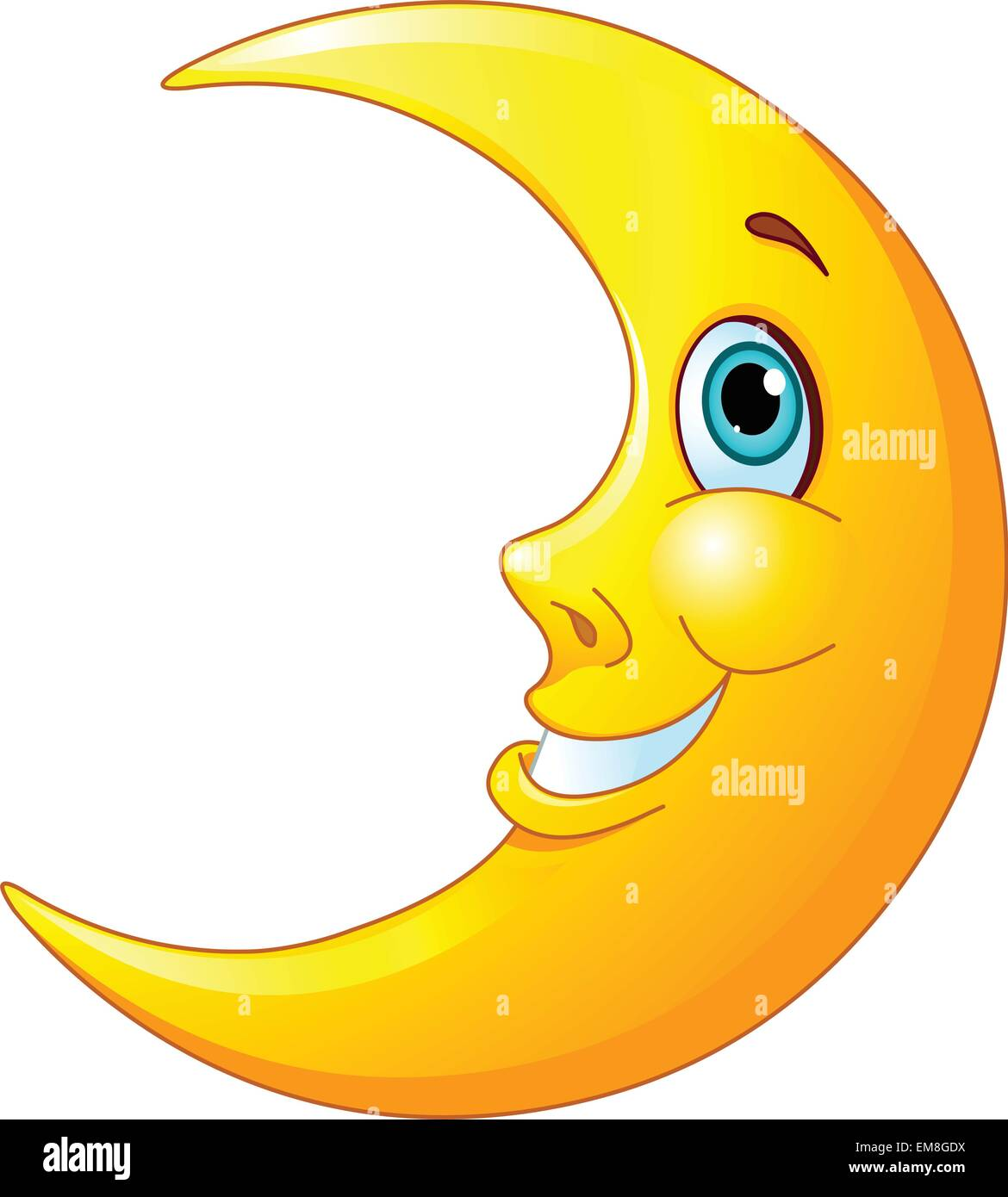 Half Crescent Moon With Face Tattoo: Smiling Moon Stock Vector Art & Illustration, Vector Image