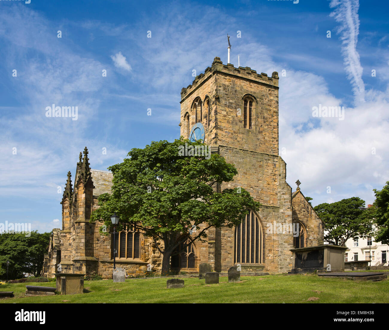 UK, England, Yorkshire, Scarborough, St Mary's Parish Church clock tower - Stock Image