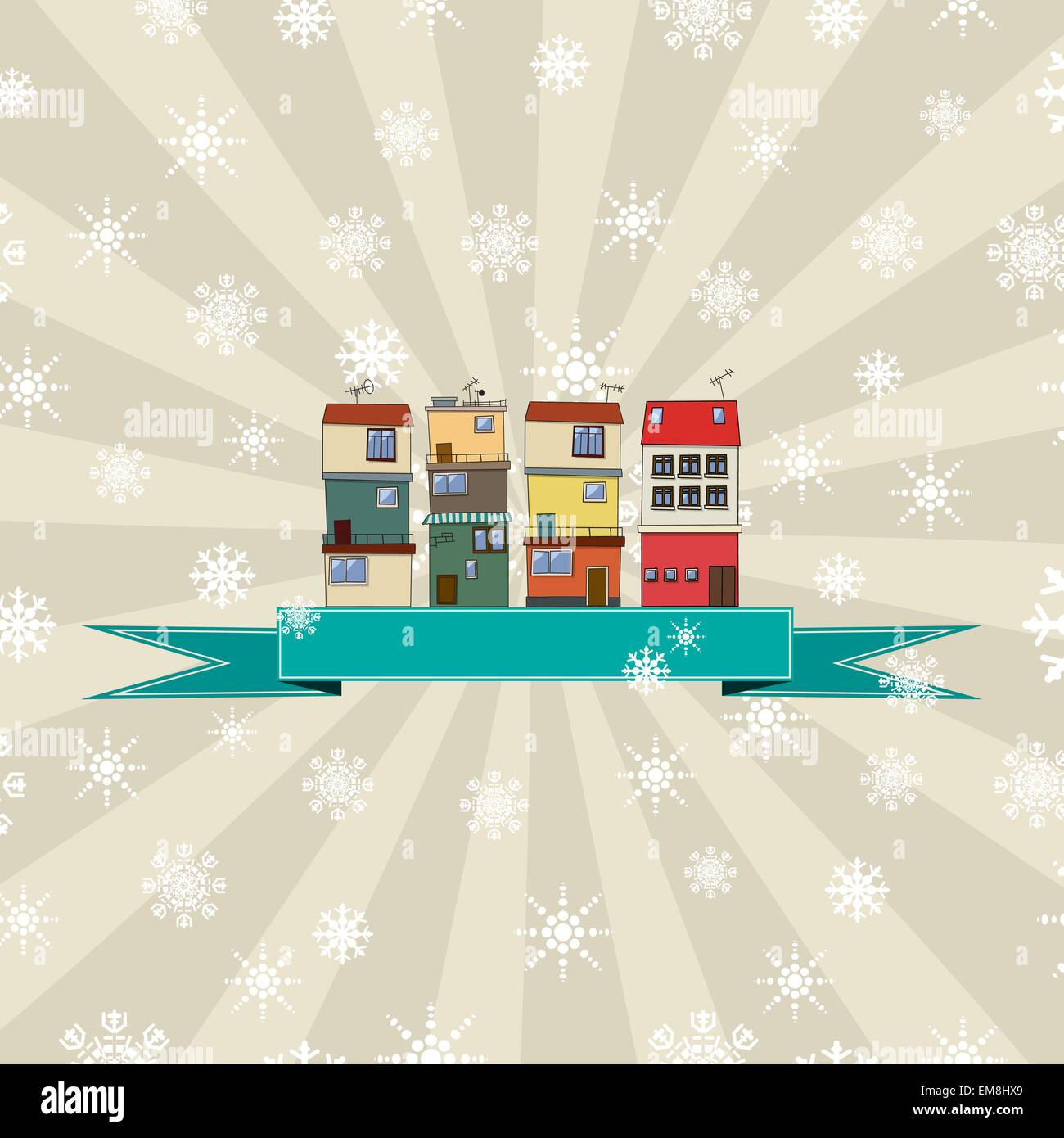 Winter holidays card with houses Stock Vector