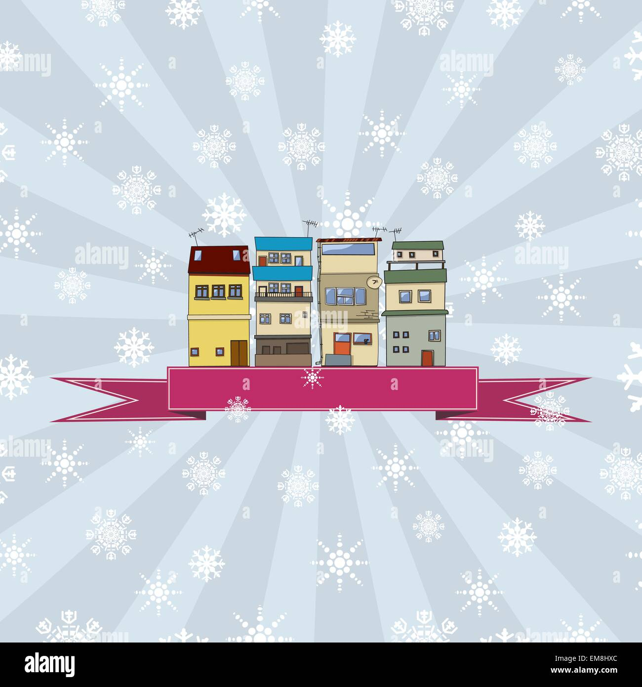 Winter holidays card with houses 2 Stock Vector