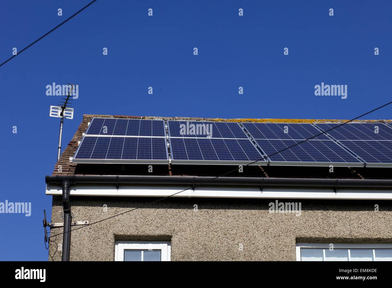 solar panels on roof in Catterick Village, North Yorkshire Stock Photo