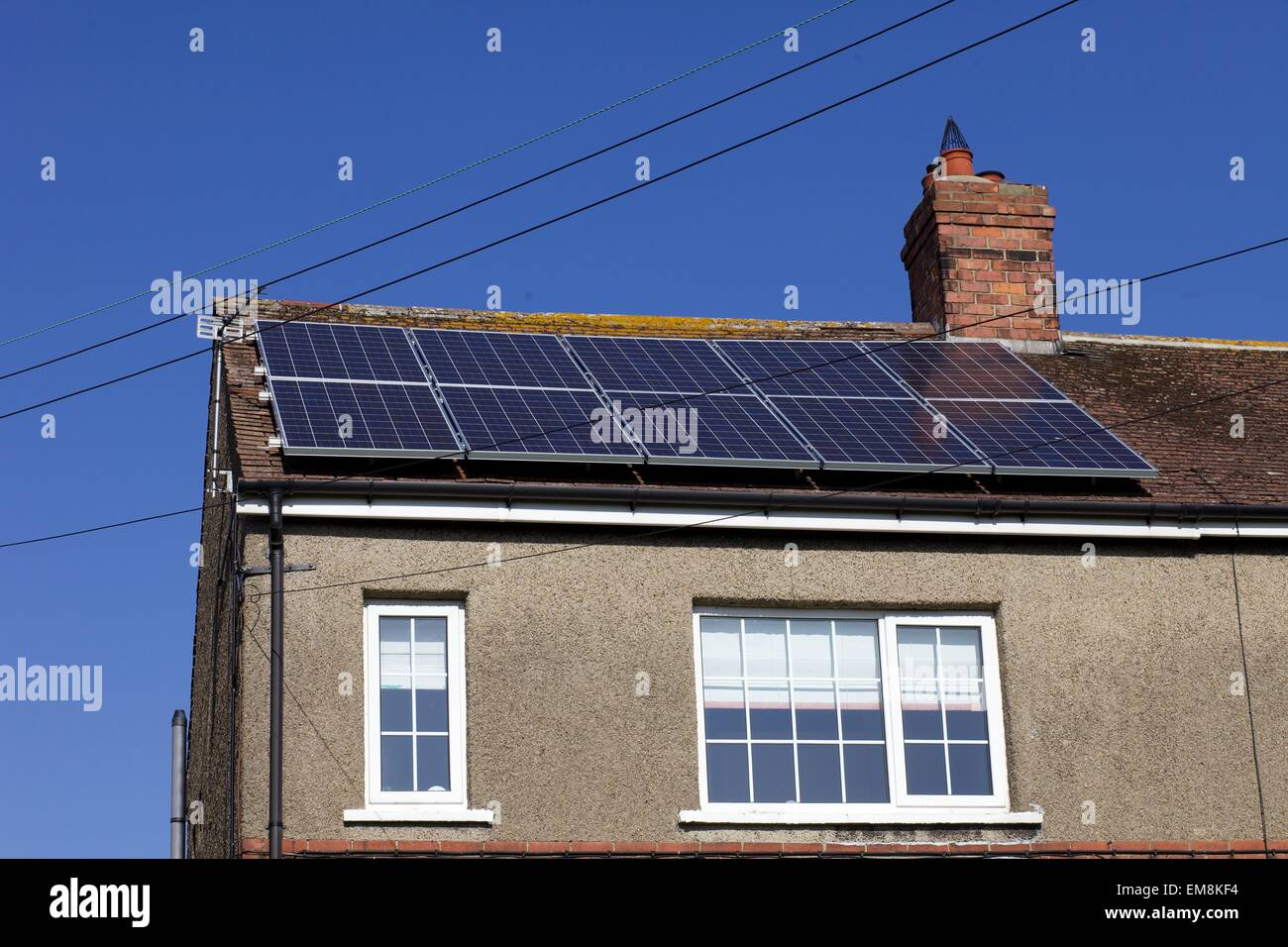 solar panels on roof in Catterick Village, North Yorkshire - Stock Image