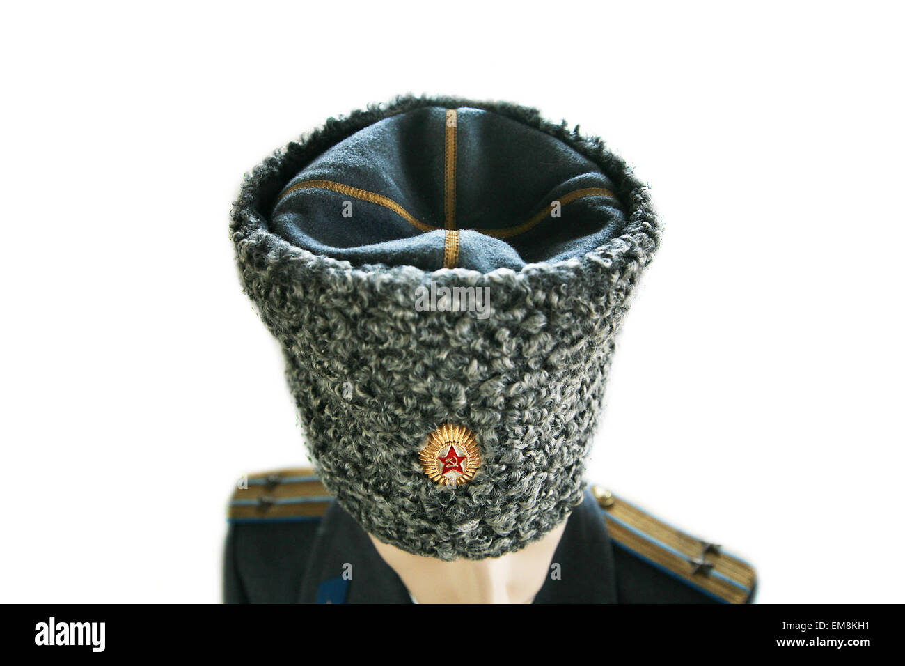 soviet army officer in winter uniform lieutenant colonel isolated - Stock Image
