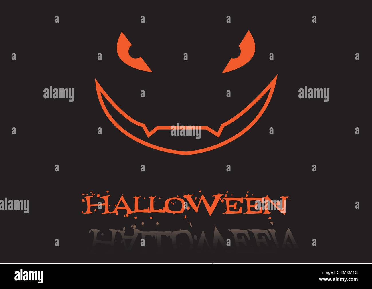 inscription halloween and scary face - Stock Vector