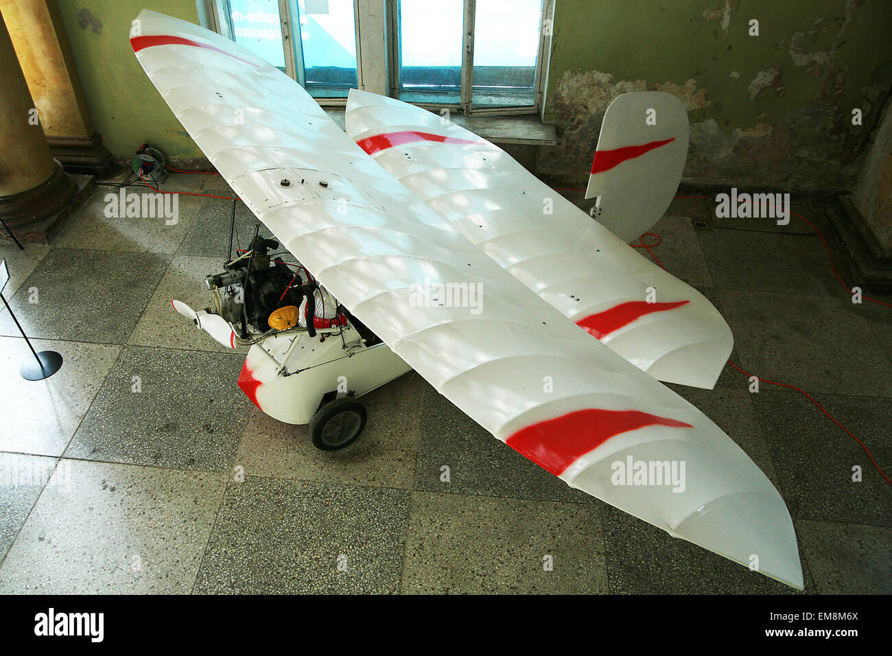 airplane with engine propeller and double wings - Stock Image