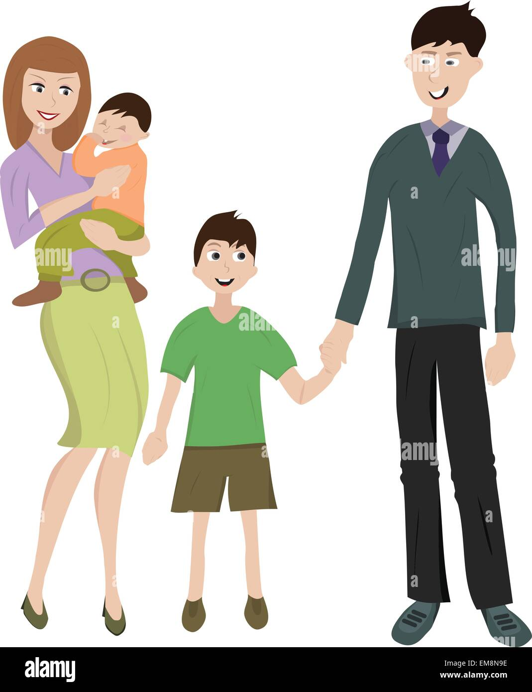 Vector illustration of young happy family with two childs - Stock Vector