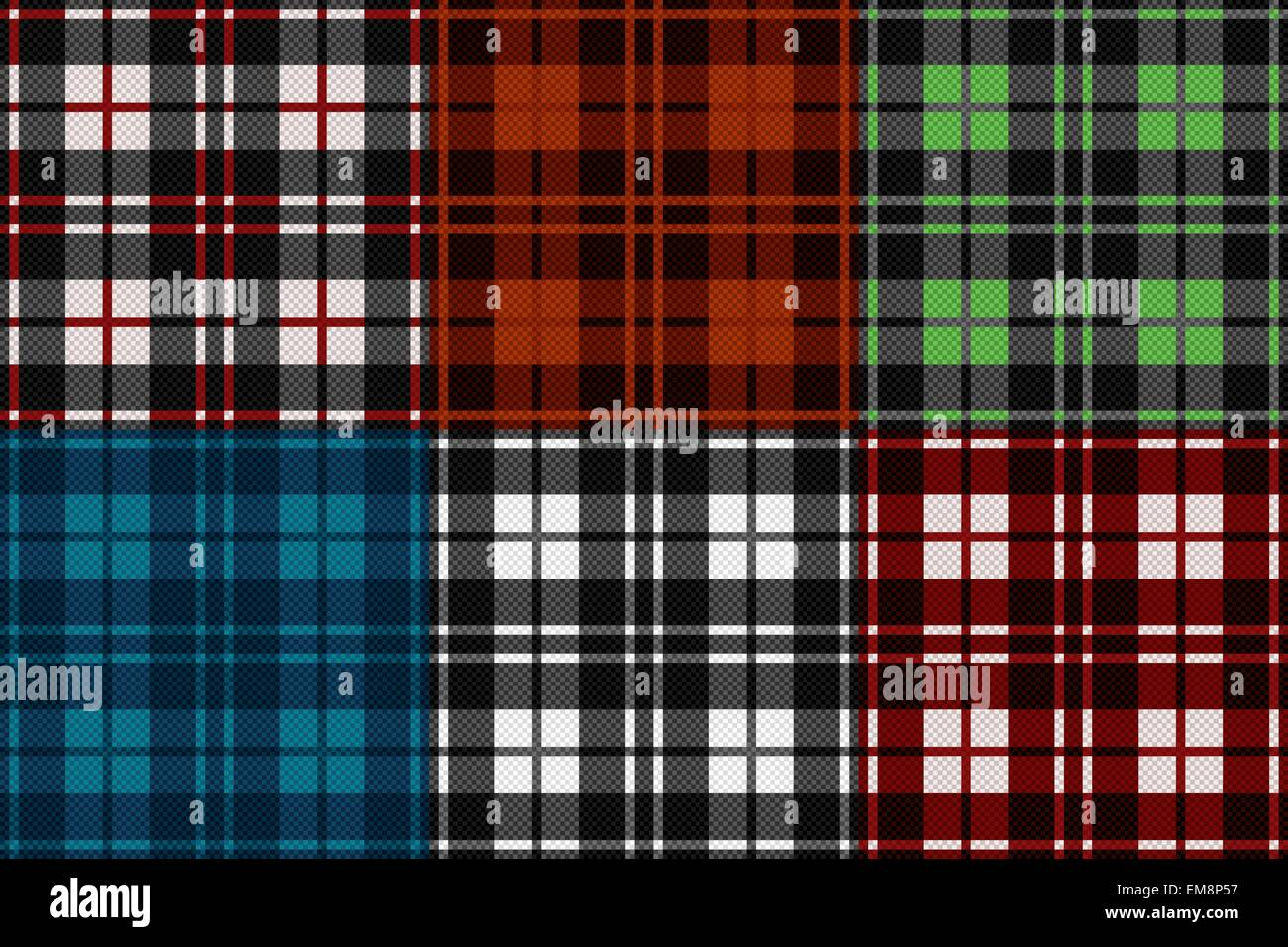 Six seamless checkered patterns - Stock Vector