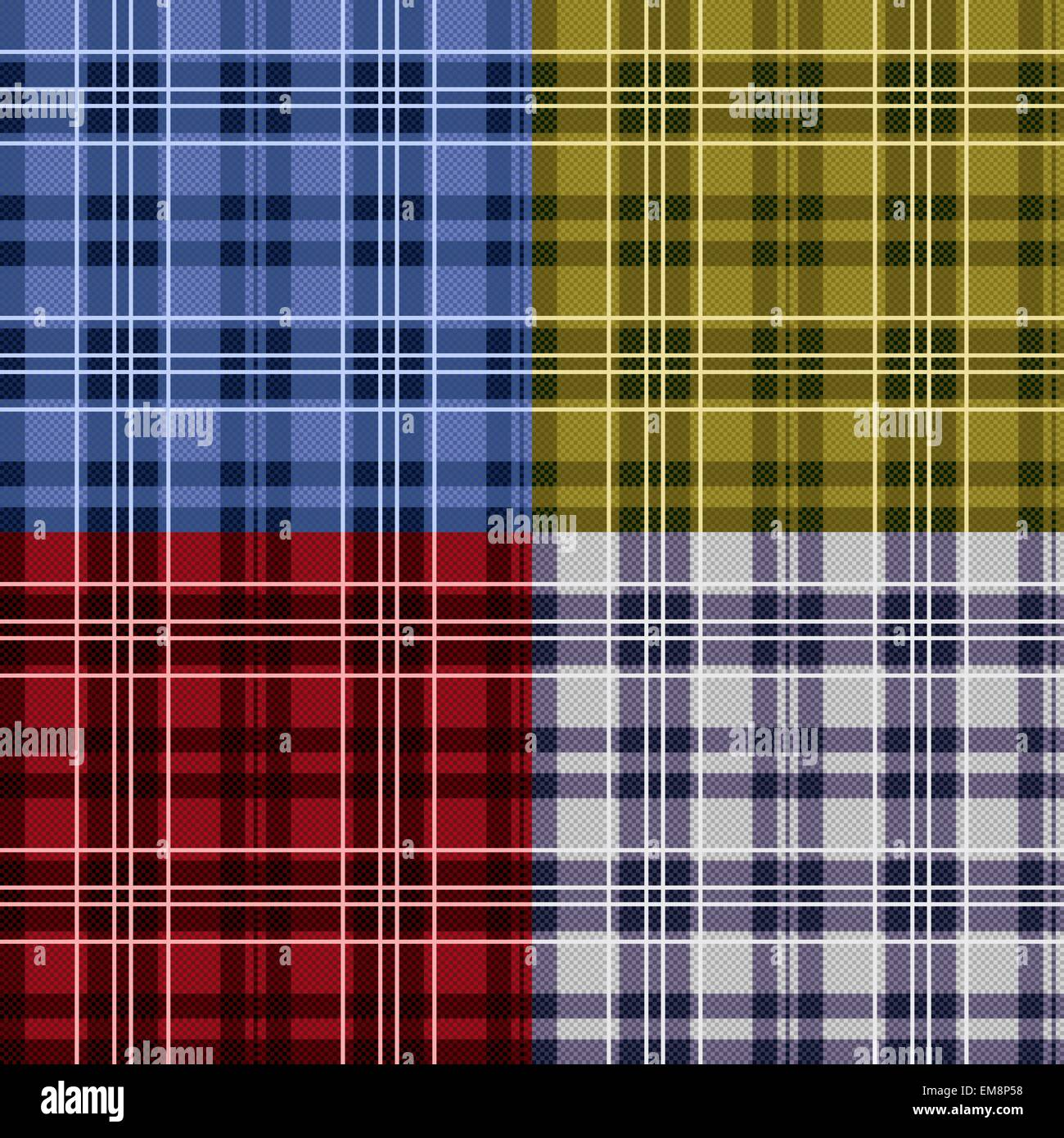 Four seamless checkered tartan patterns - Stock Vector