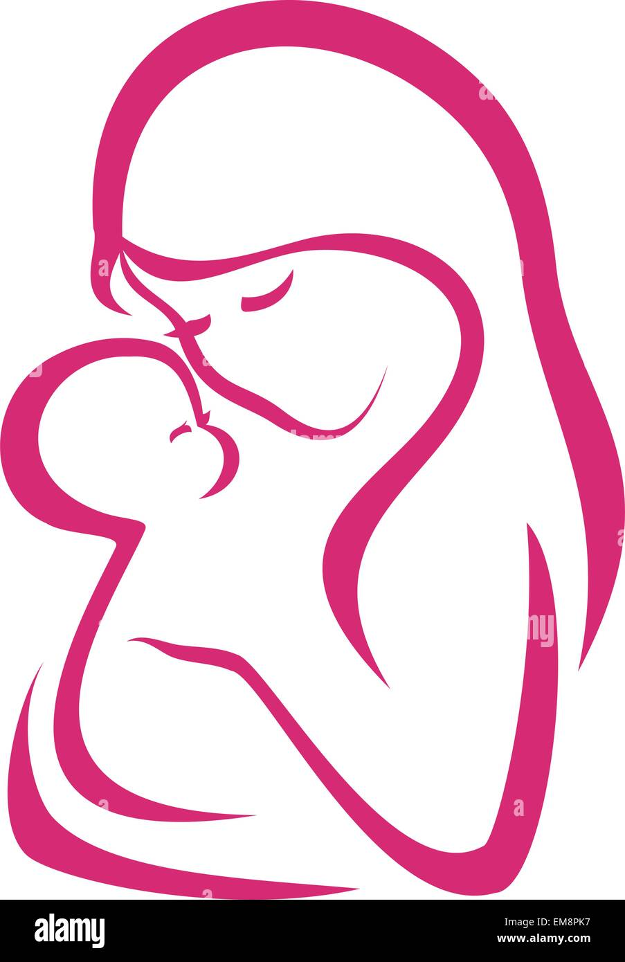 mama and baby vector symbol in simple lines stock vector art