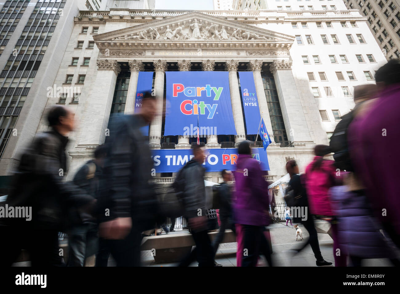 The New York Stock Exchange is decorated for the Party City initial public offering on Thursday, April 16, 2015. - Stock Image