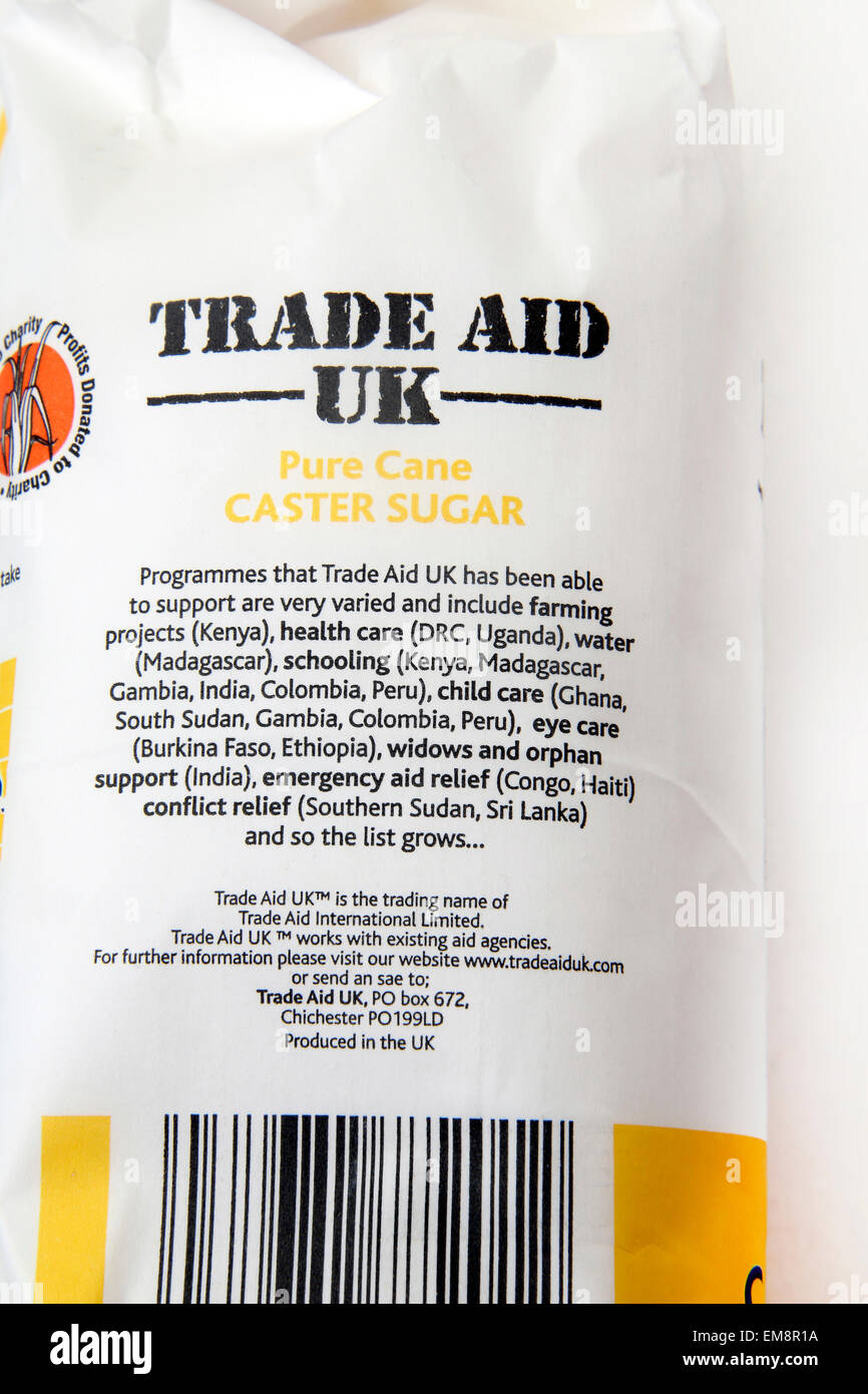 Trade Aid Uk Pure Cane Caster Sugar - Stock Image