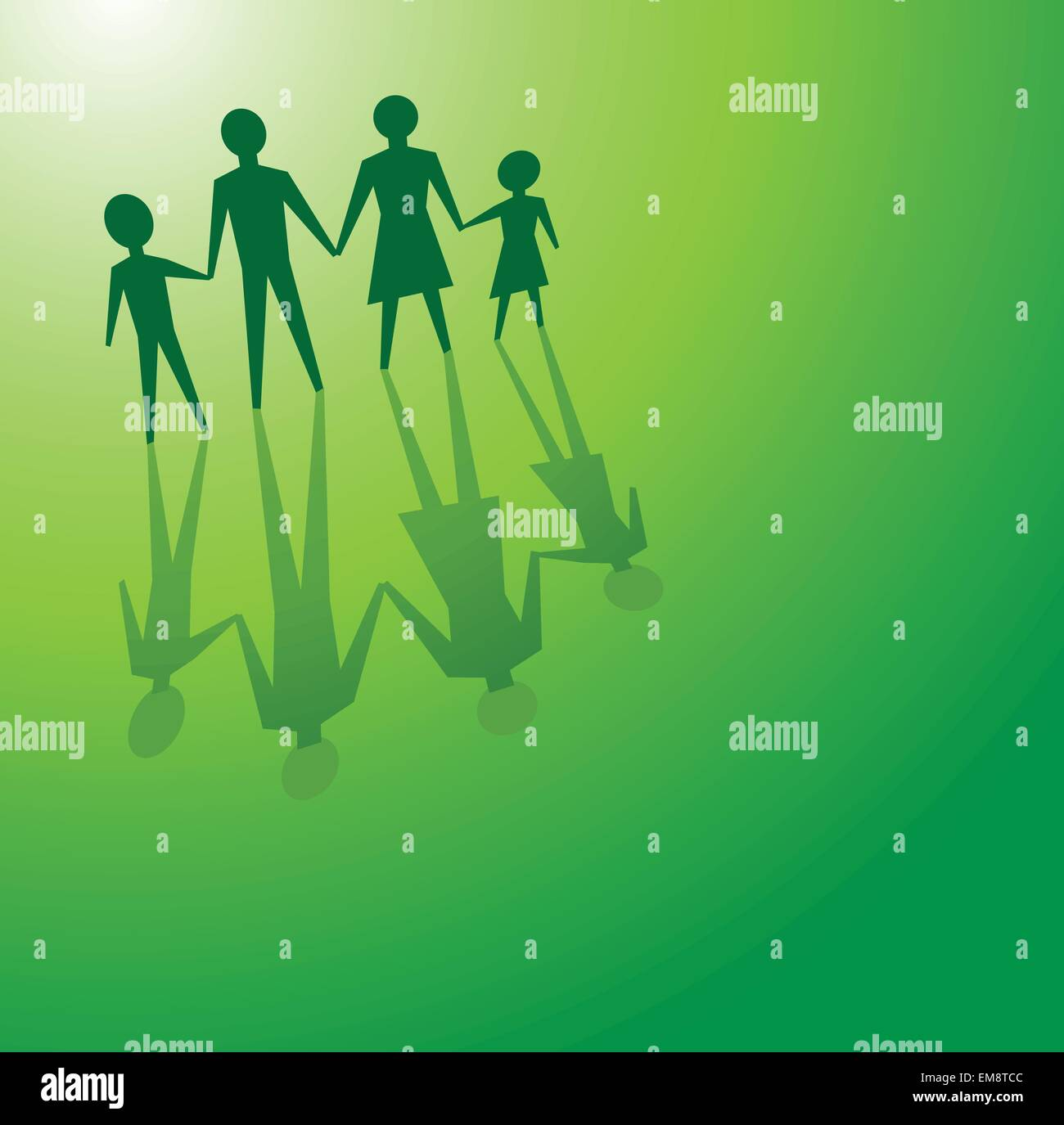 family in green concepts - Stock Image