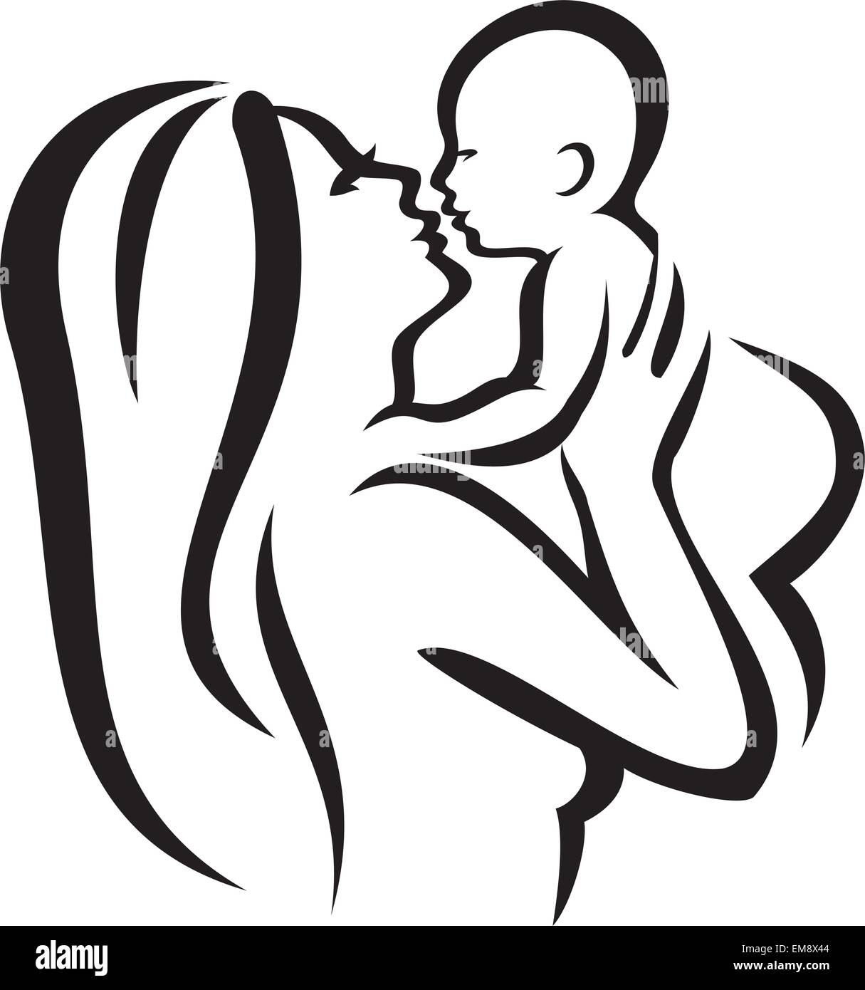 Mother and baby vector silhouette sketch in black lines