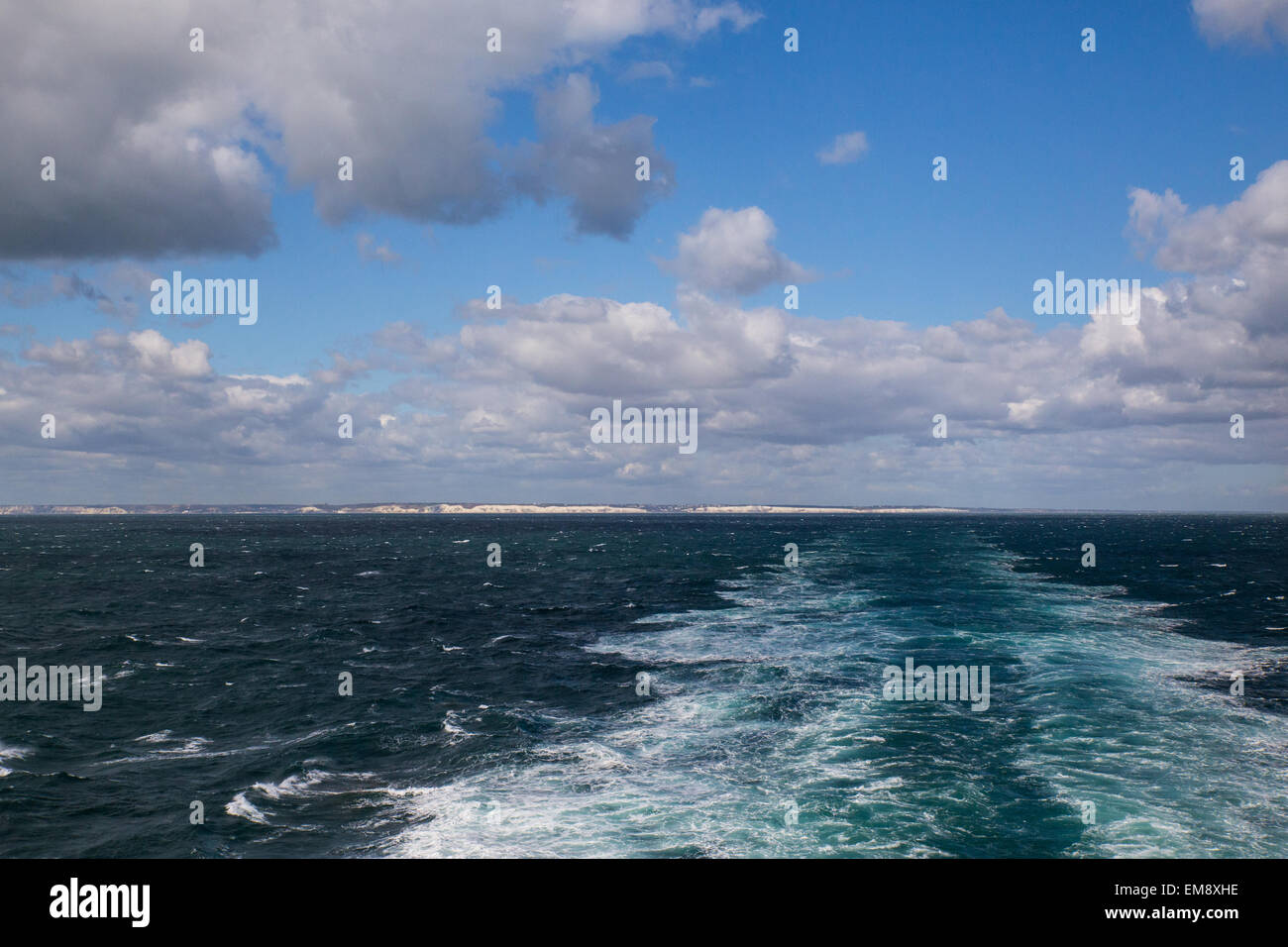 View of ship's wake from cross channel ferry between Dover and Dunkirk Stock Photo