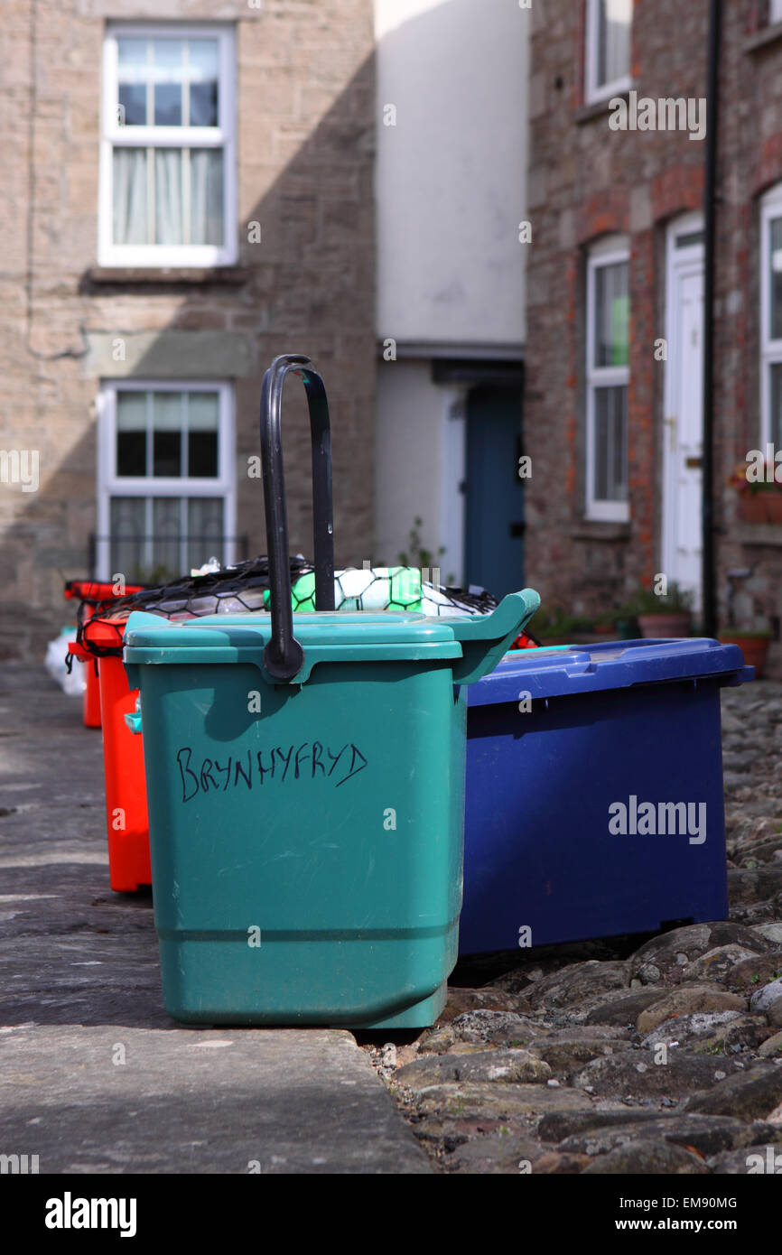 Domestic refuse recycling rubbish bins waiting for collection on dustbin day in Powys Wales - Stock Image