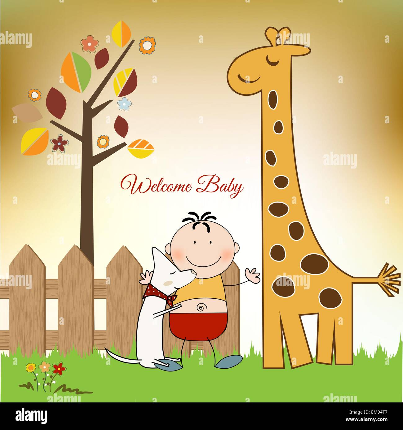 Welcome baby greeting card with giraffe stock vector art welcome baby greeting card with giraffe m4hsunfo
