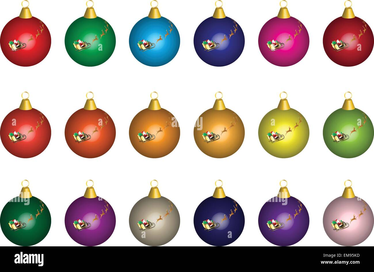 A vector illustration of Multi coloured Glass Christmas Baubles ...
