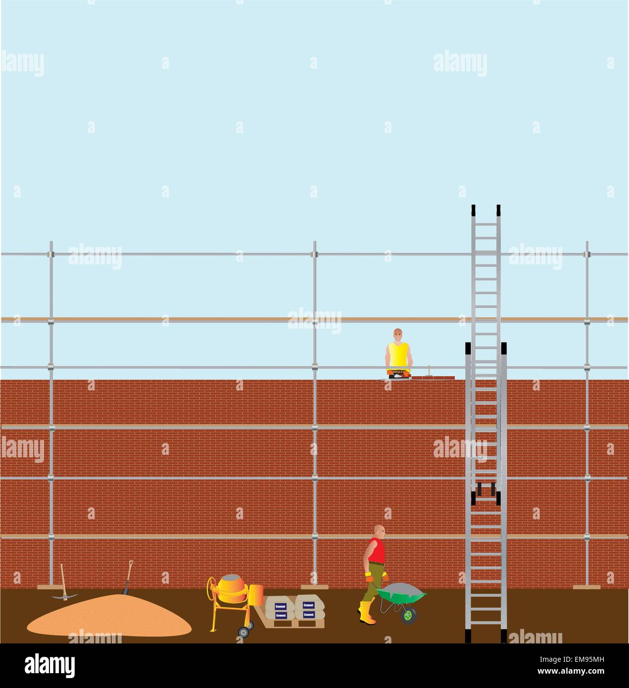 A vector illustration of Construction Workers building a brick wall, with cement mixer, scaffolding and a ladder - Stock Vector