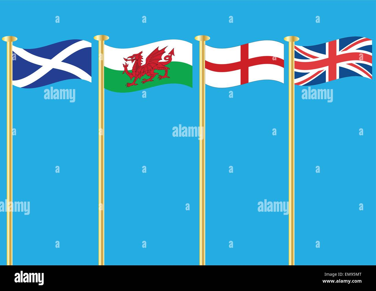 A vector illustration of The Flags of Scotland Wales Saint George and the Union Jack flying in the wind the concept - Stock Vector