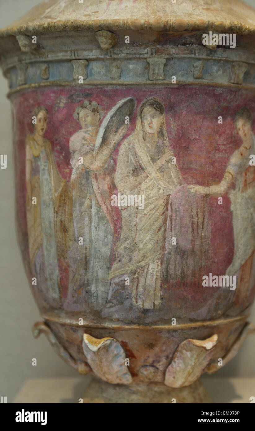 Terracotta vase. Greek, Sicilian. Centuripe, 3rd-2nd century BC. Four women. The scene shows a bride surrounded - Stock Image