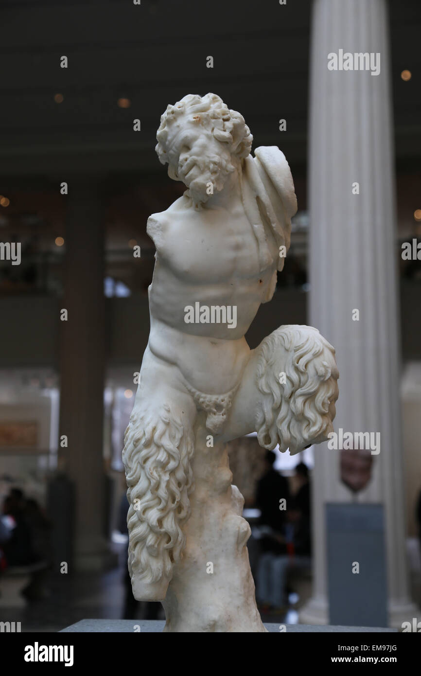 Marble statue of Pan. Roman. Imperial period, 1st century AD. Metropolitan Museum of Art. NY. USA. - Stock Image