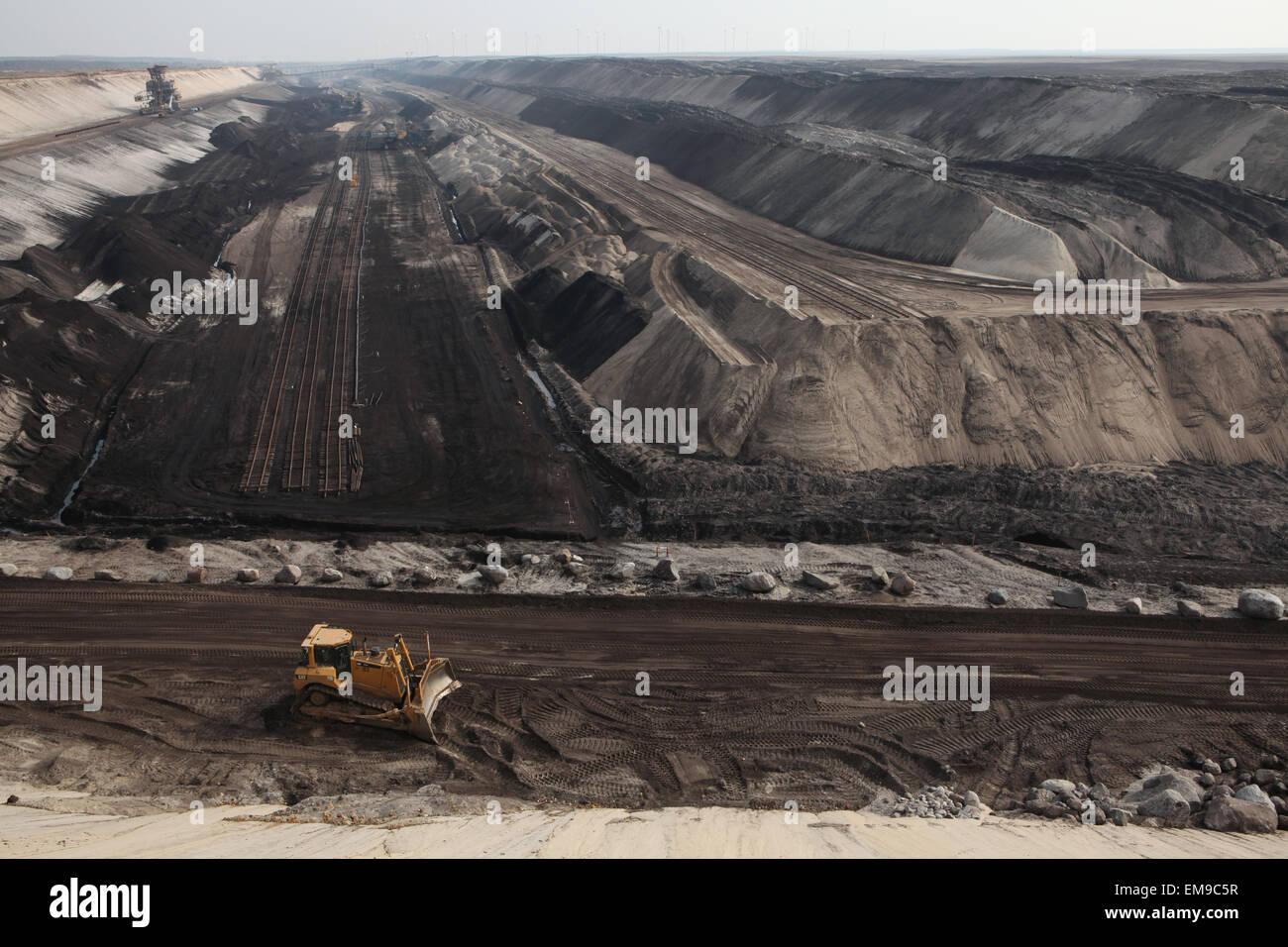 Open-pit coal mining Cottbus Nord near Cottbus, Lower Lusatia, Brandenburg, Germany. Huge open-pit coal mining by - Stock Image
