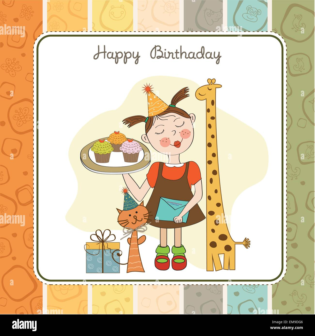 Happy Birthday Card With Funny Girl Animals And Cupcakes