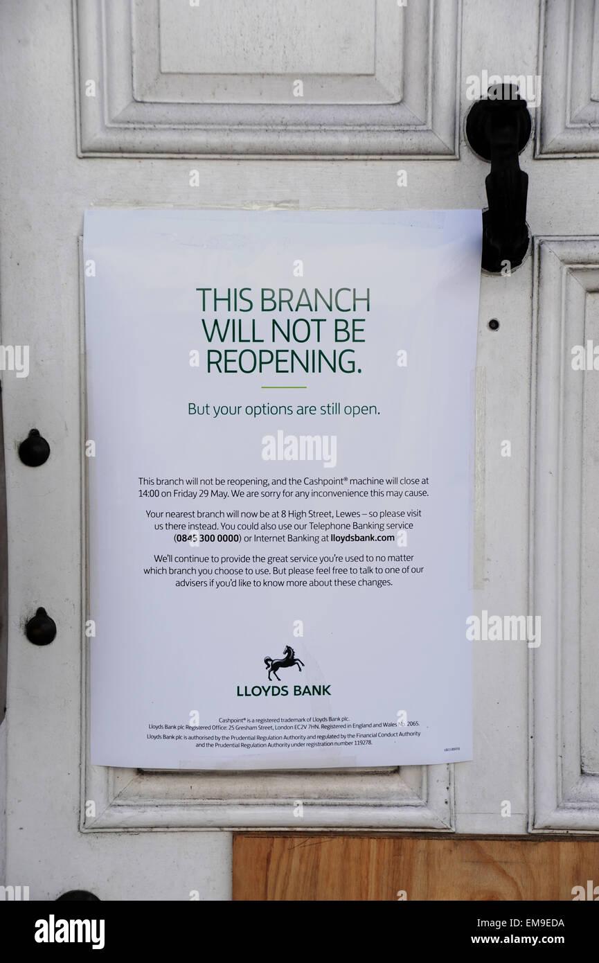 Closed down local branch of Lloyds Bank in Lewes High Street East Sussex UK - Stock Image