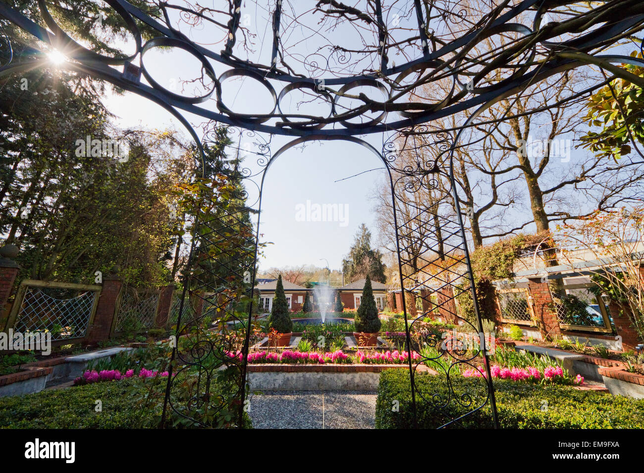 Gazebo In The Display Garden Of Park & Tilford Gardens, North Vancouver, British Columbia, Canada - Stock Image