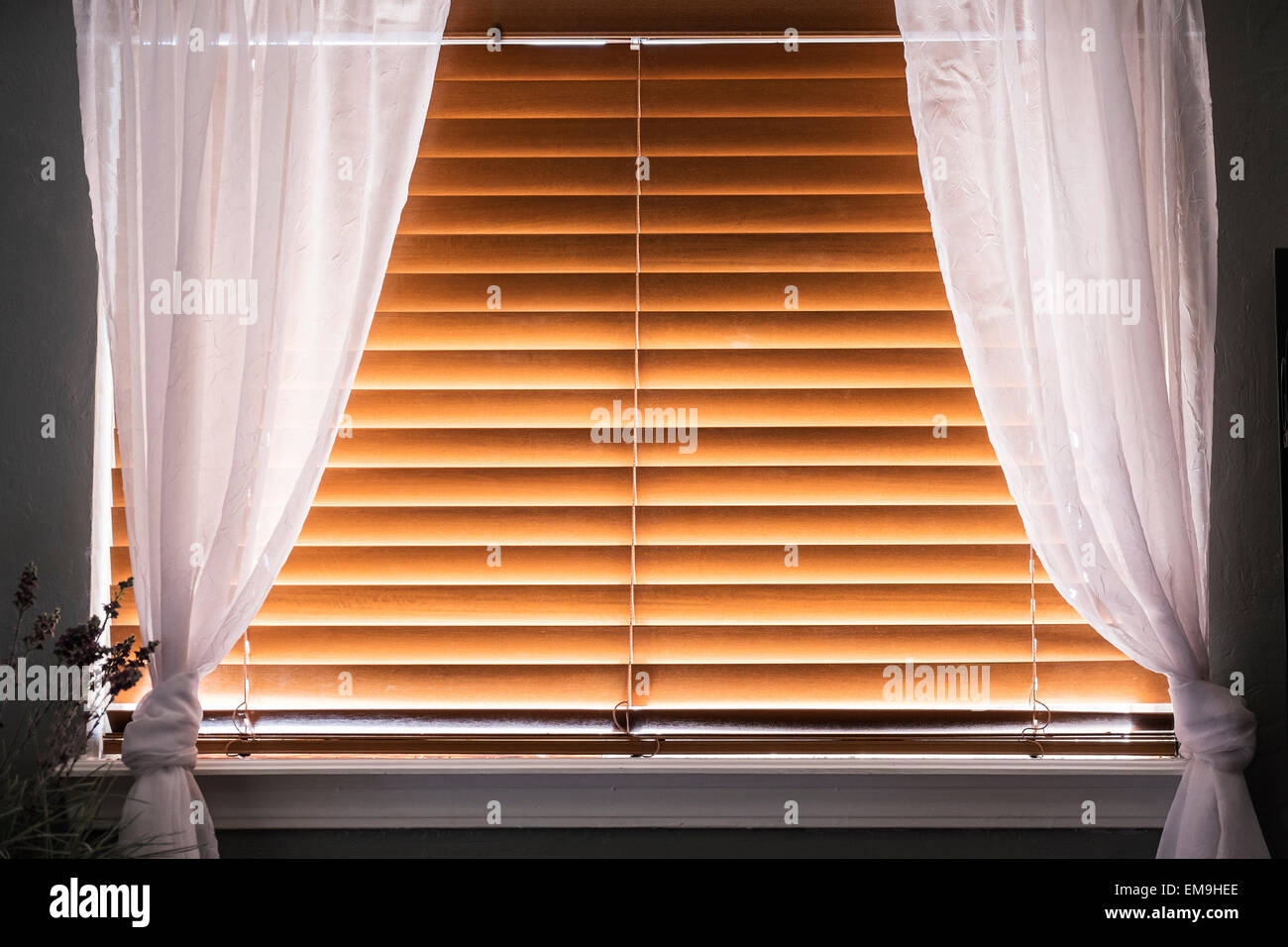 A Window Covered With Closed Wooden Window Blinds With White Filmy Stock Photo Alamy