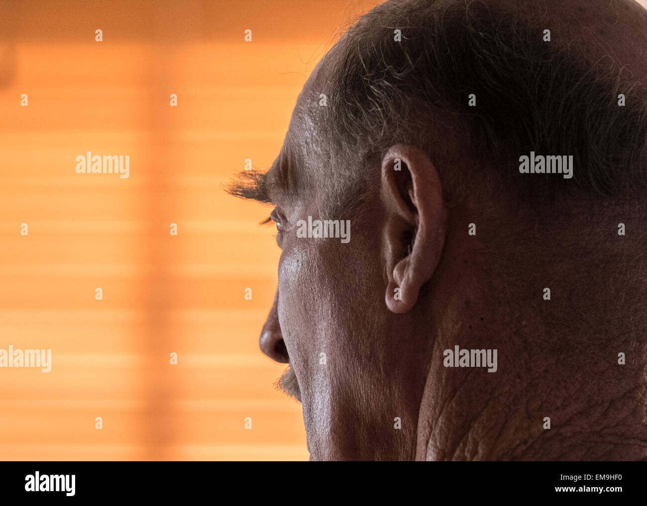 Head shot of an elderly man turned away, showing an extremely long, bushy eyebrow. Stock Photo