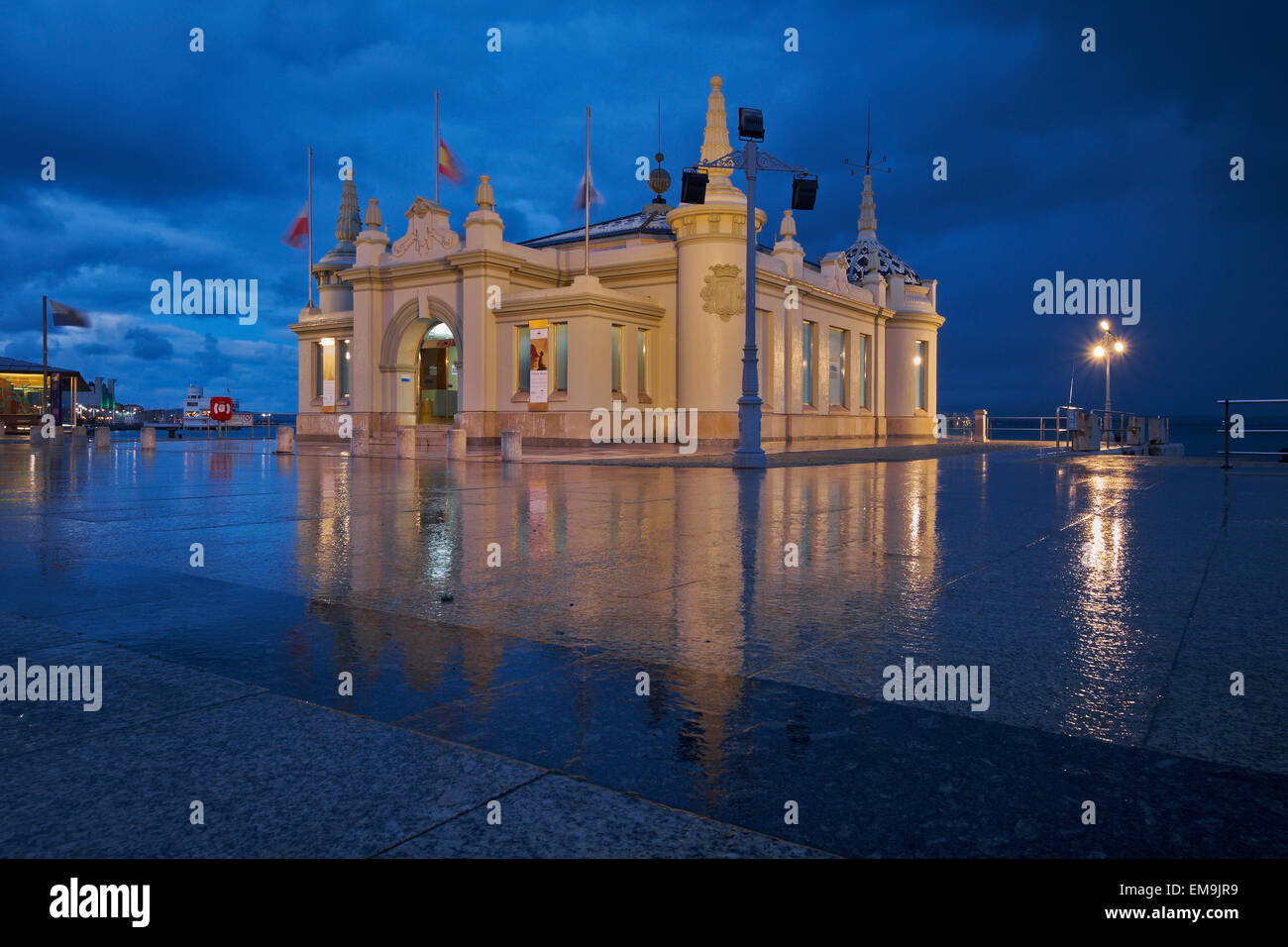Santander: Palacete del Embarcadero at night. Spain. - Stock Image