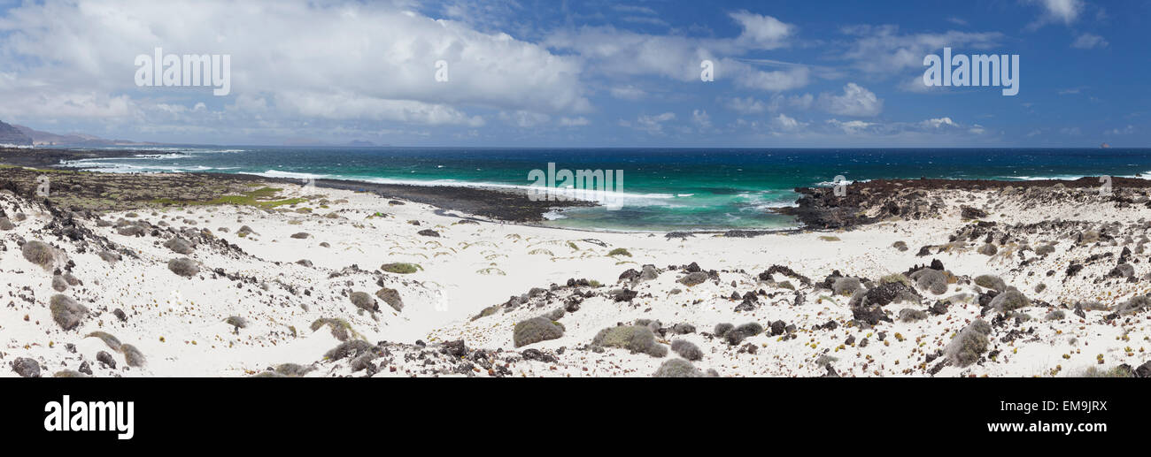 Lanzarote wild beach with white sand. - Stock Image