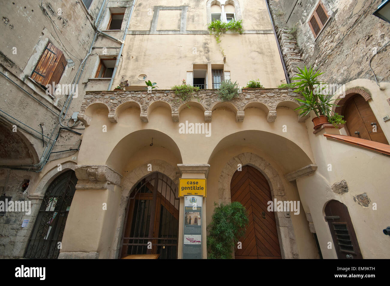 Terracina, noble houses in the old town, Lazio, Italy - Stock Image