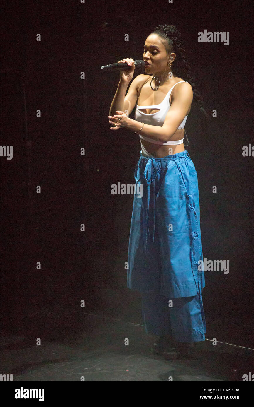 Los Angeles, California, USA. 14th Apr, 2015. Singer FKA TWIGS performs live in concert at The Belasco in Hollywood, - Stock Image
