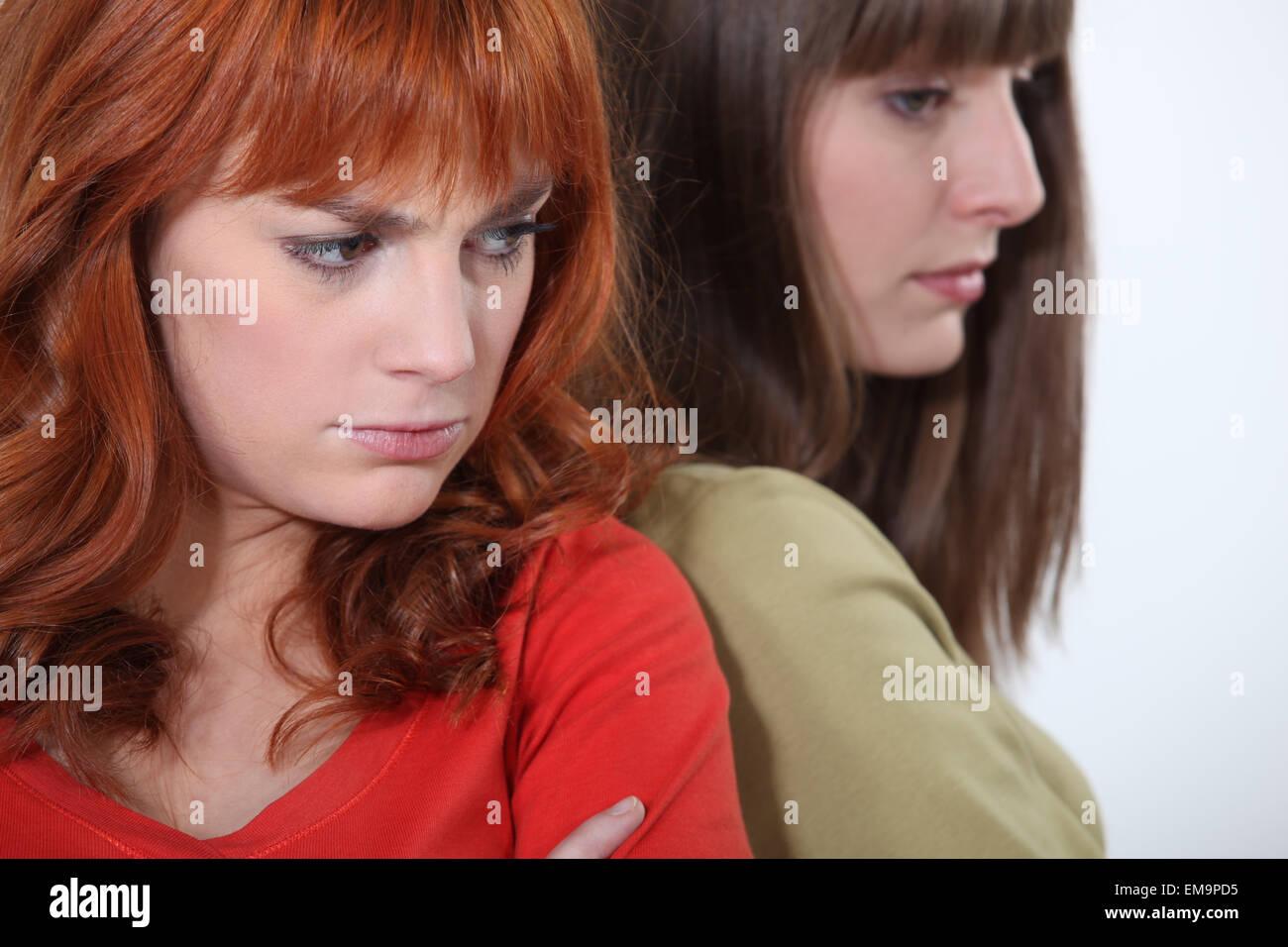 two girlfriends having a quarrel - Stock Image