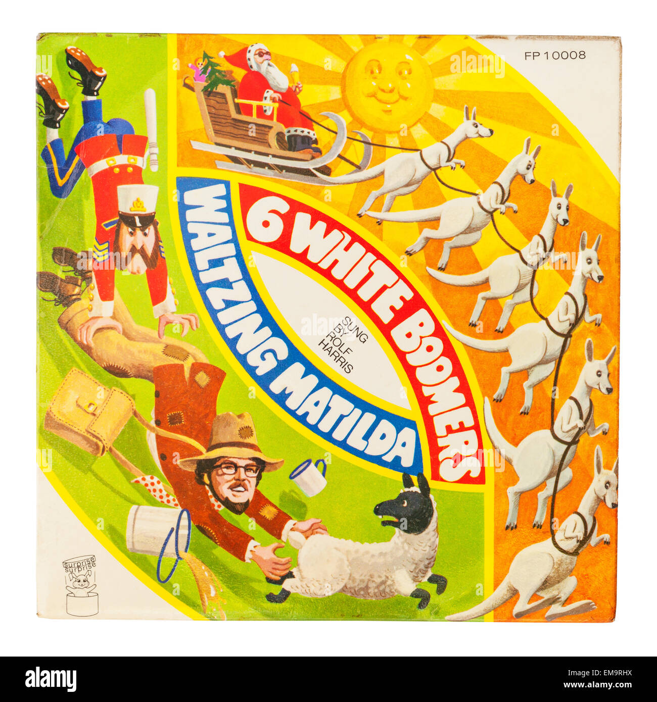 A Childrens Vinyl record called Waltzing Matilda sung by Rolf Harris on a white background - Stock Image
