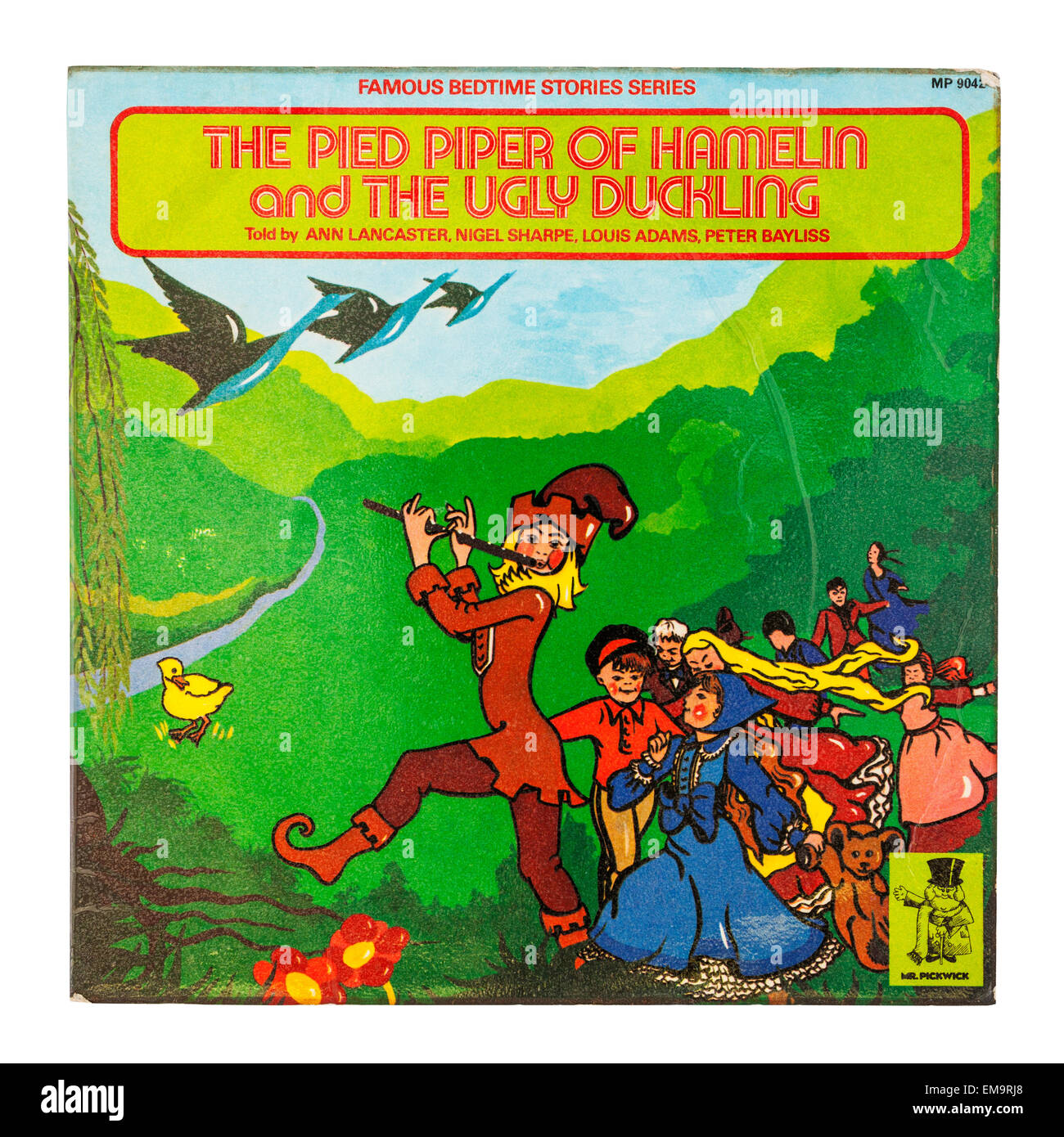 A Childrens Vinyl record called The Pied Piper of Hamelin on a white background - Stock Image