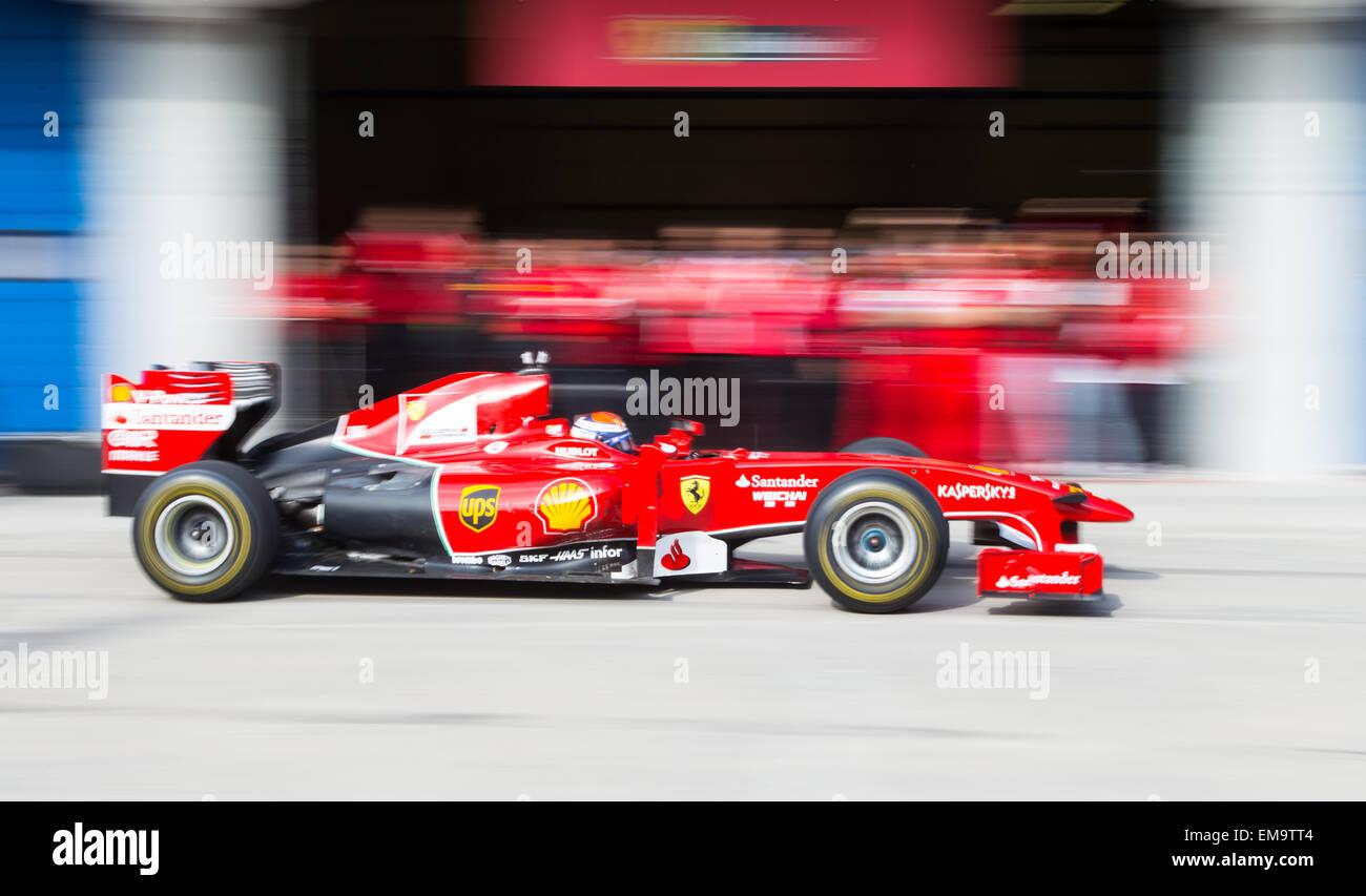 ISTANBUL TURKEY OCTOBER 26 2014 Pit stop Formula 1 car Ferrari Racing Days Istanbul Park Racing Circuit - Stock Image