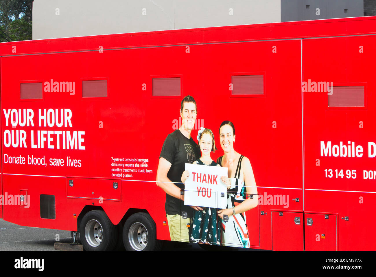 mobile australian blood donor vehicle parked in Sydney for those wishing to give blood,australia - Stock Image