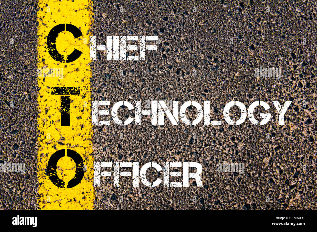 chief technology officer  Business Acronym CTO – Chief Technology Officer. Yellow paint line ...