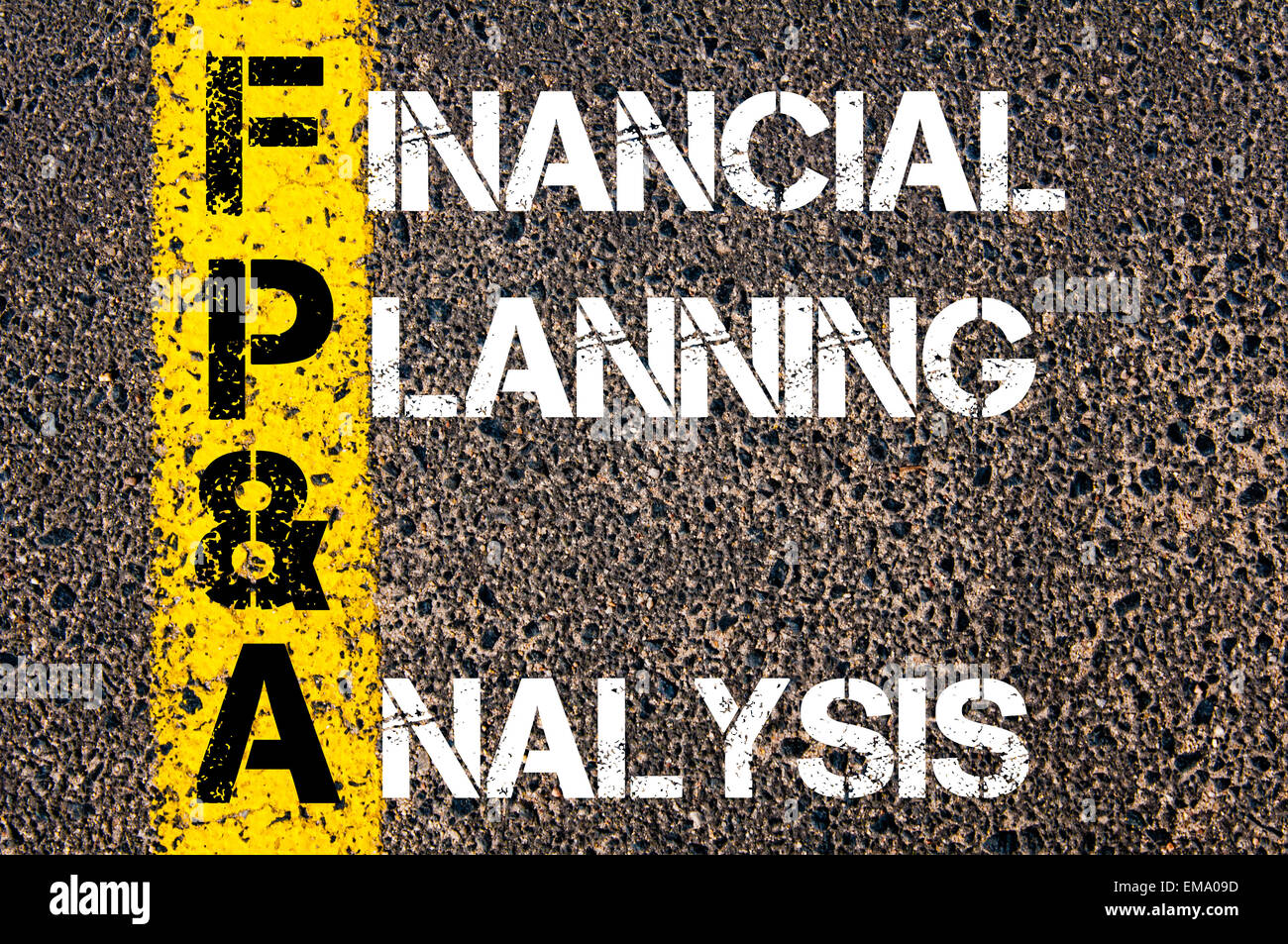 business acronym fpa financial planning analysis yellow paint line on the road against asphalt background conceptual image