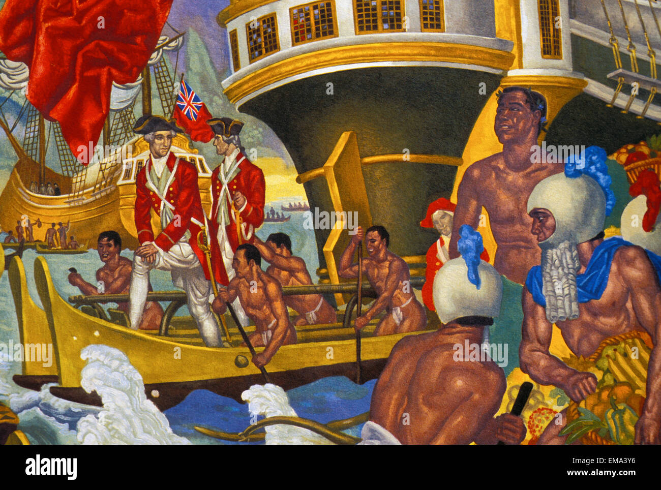 Painting of explorers in a boat Stock Photo