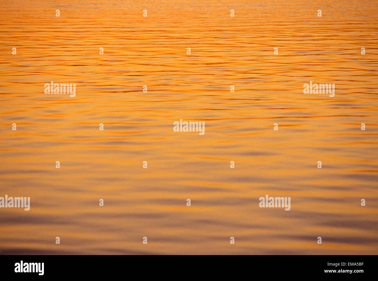 Ocean Shimmering Surface With Sunset Reflections Beautiful Orange Color - Stock Image