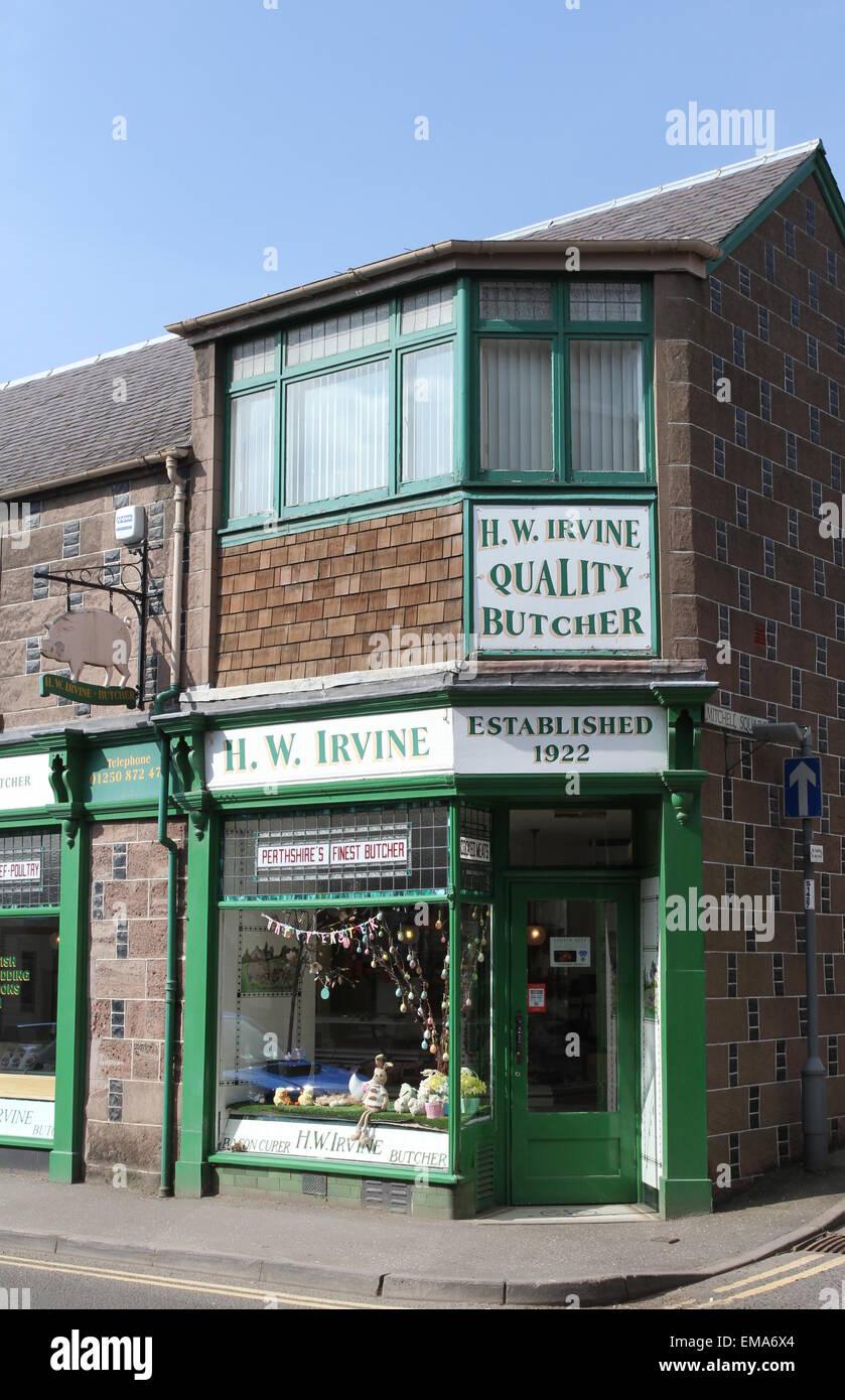 Exterior of HW Irvine Butcher Blairgowrie Scotland  April 2015 - Stock Image